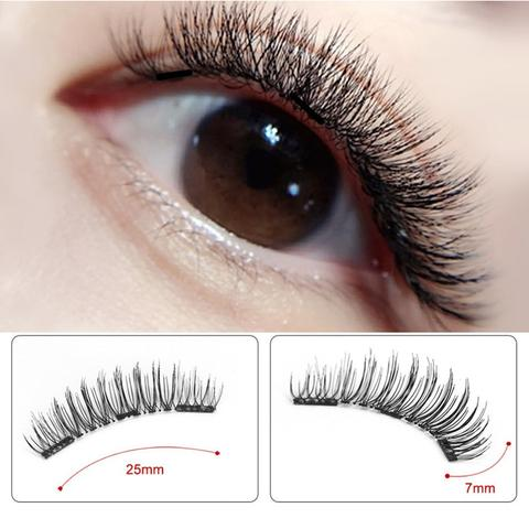 Natural False Magnetic Eyelashes With 3 Magnets
