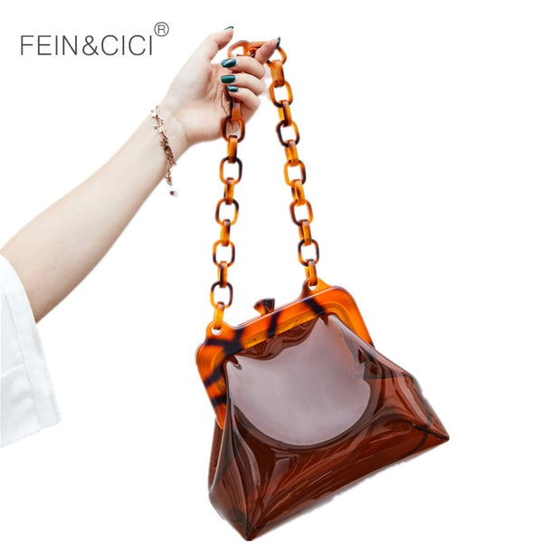 Luxury Transparent Acrylic Chains Plastic Bucket Bag