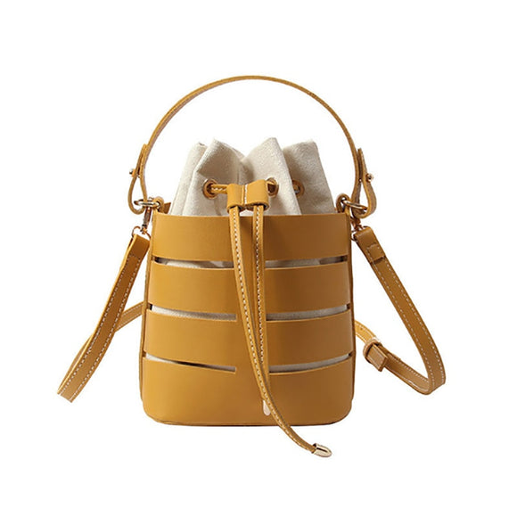 Solid Color Hollow Out PU Fairy Bucket Shoulder Bag