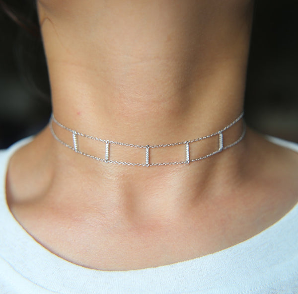 Woman Handmade Boho Link Punk choker Necklace