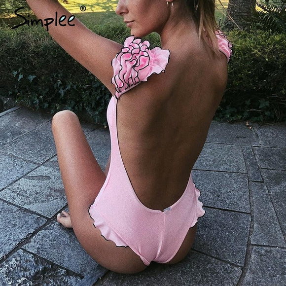 Women Ruffles Sleeves Two pieces / One piece swimwear
