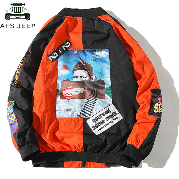 Hip Hop Printing Casual Thin Pilot Baseball Jacket