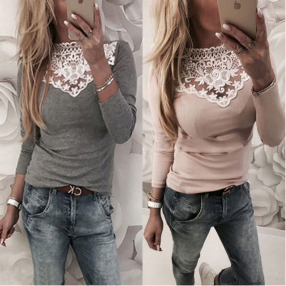Women's Long Sleeve Knitted Lace Blouse