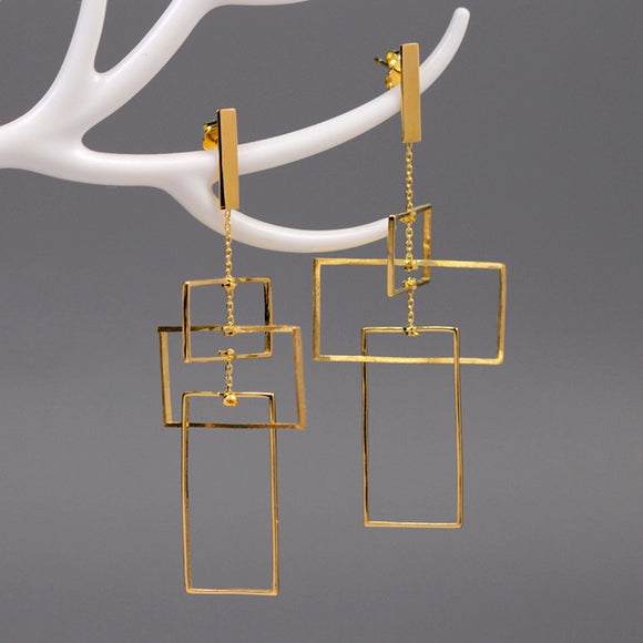 Punk Style Geometry Rectangle Silver Drop Earrings