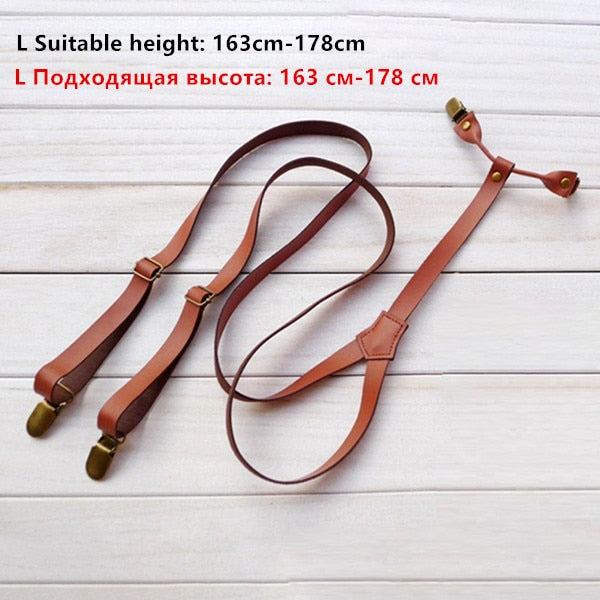 Men British style retro decorative leather Suspenders