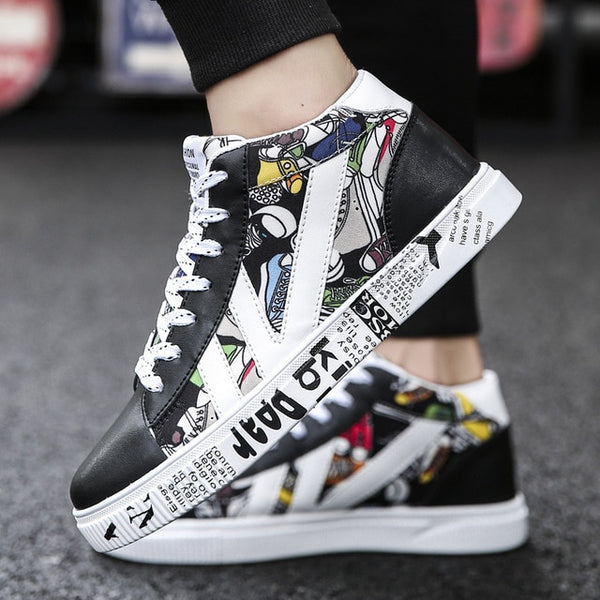 Color mixed Graffiti Designer High Top Sneakers