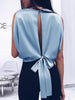 Women Sleeveless Silky Backless Blouses