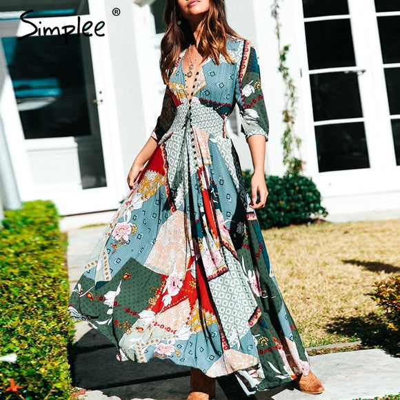 Women Boho Floral Print Long Dress
