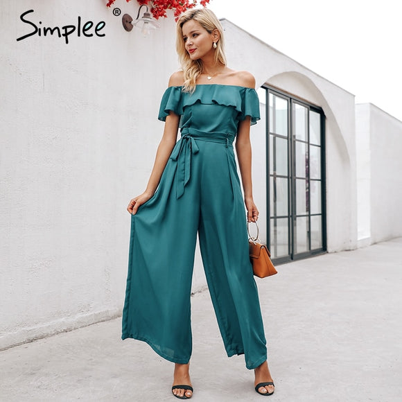 Women Elegant Off Shoulder Chiffon Long Jumpsuit