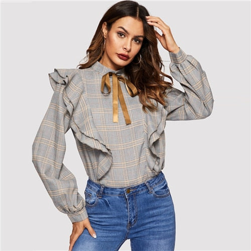Tie Neck Ruffle Stand Collar Bishop Sleeve Plaid Blouses