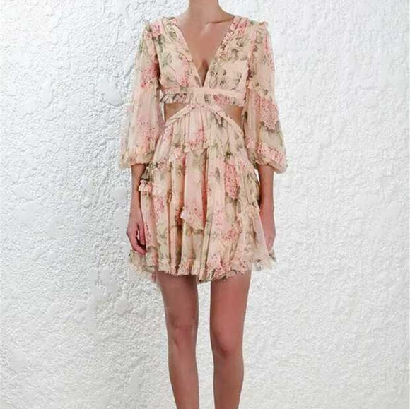 Floral Printed Cascading Lantern Sleeve Backless Dress