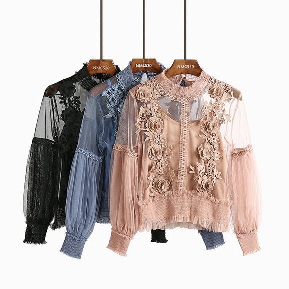 Women Spring Summer Lace Chiffon Blouses Tops