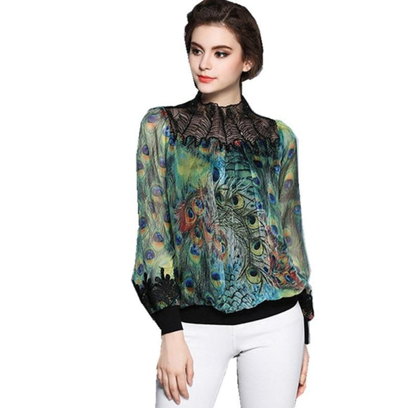 Peacock feather printing embroidery Blouses