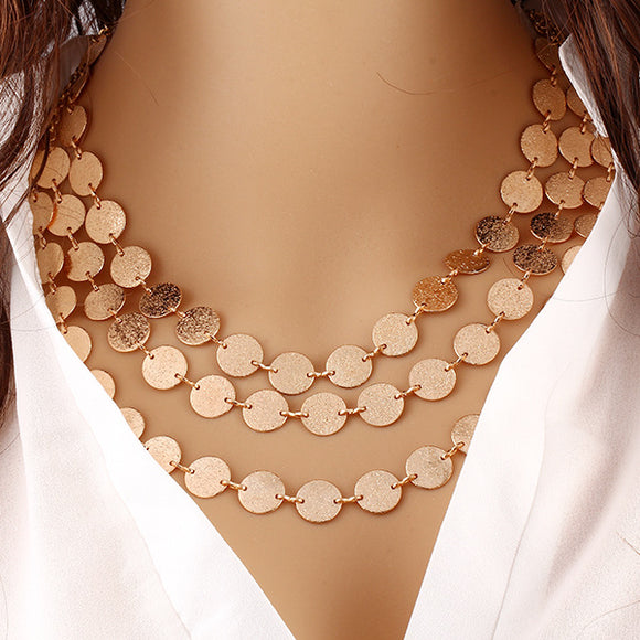 Gold Coin Chains Multi Layered Chokers Necklaces