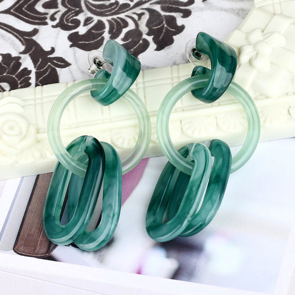 Geometric Pattern Resin Zinc Alloy Stylish Drop Earring