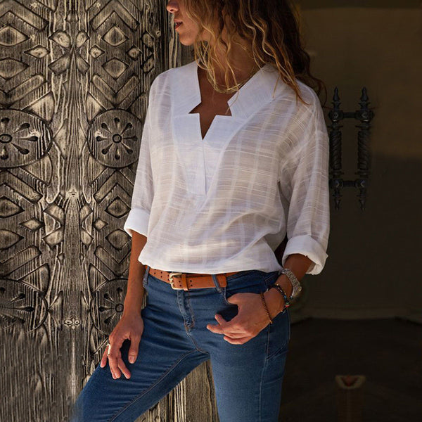 Women Sexy V Neck Tops Chiffon Blouse