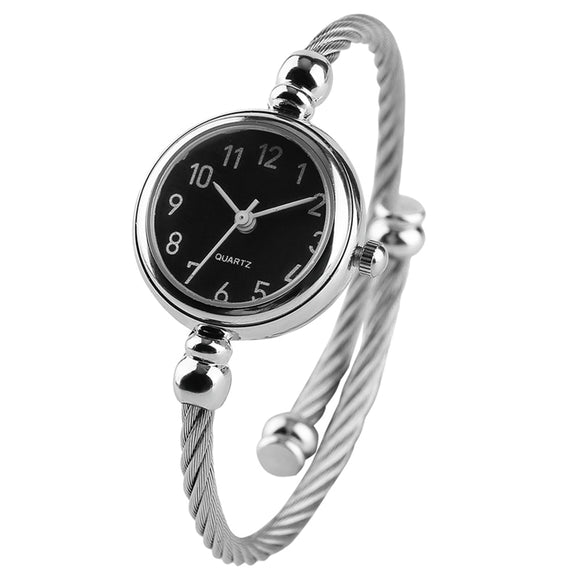 Women's Silver Slim Stainless Steel Band Bracelet Watch