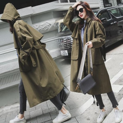 Chic Large Pockets Loose Windbreaker Trench Coat