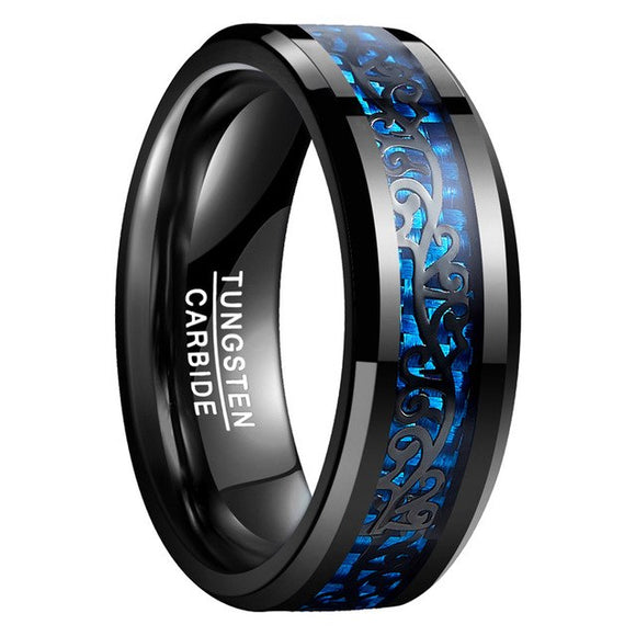 Black Vine Blue Carbon Fiber 100% Tungsten Steel Rings