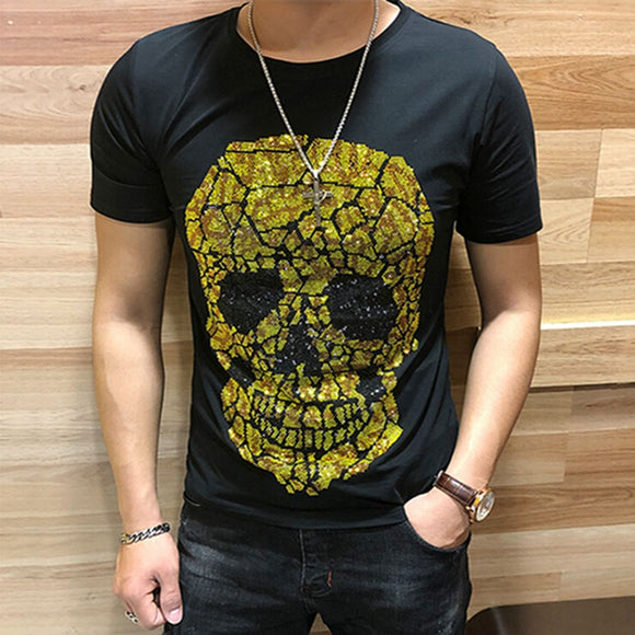 Men Luxurious Diamonds Skull design top