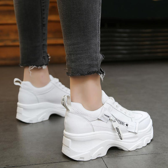 Women Platform Lace-Up Breathable Sneakers