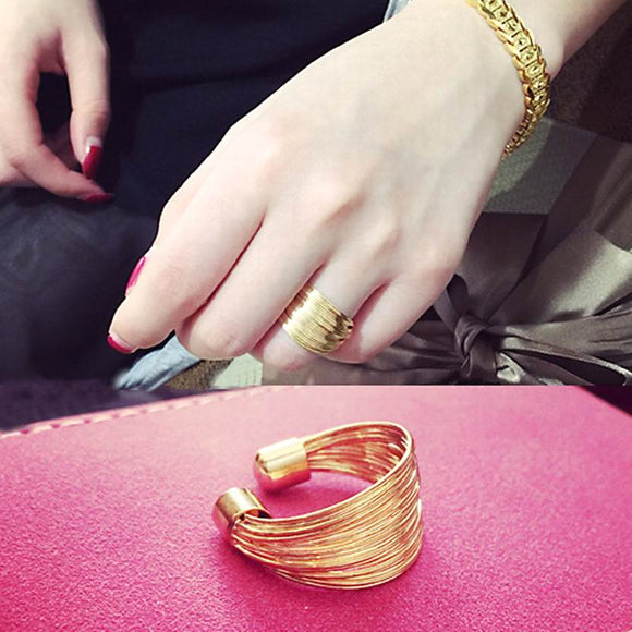 Gold Color Multi Layers Statement Open Ring