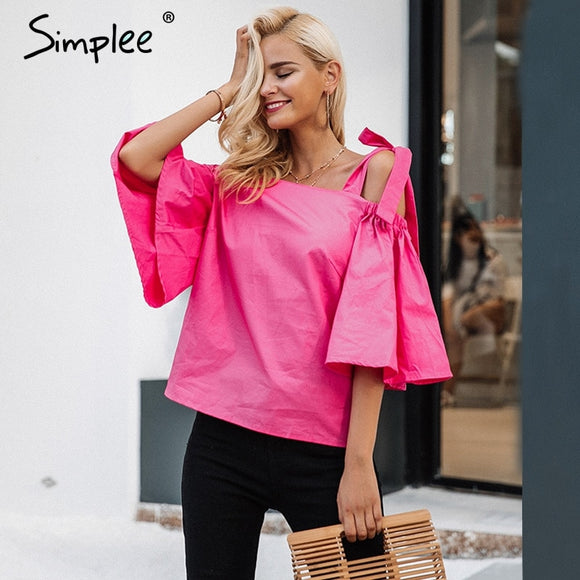 Women Causal Strap Flare Sleeve Blouse Shirt