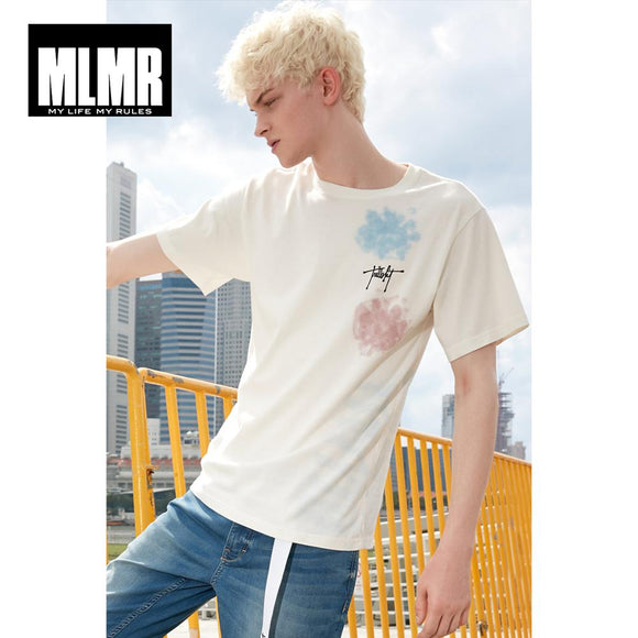 Men Round Neckline White Letter Print Short-sleeved T-shirt