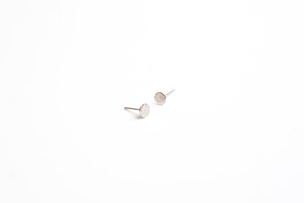 6mm Silver Dot Earrings