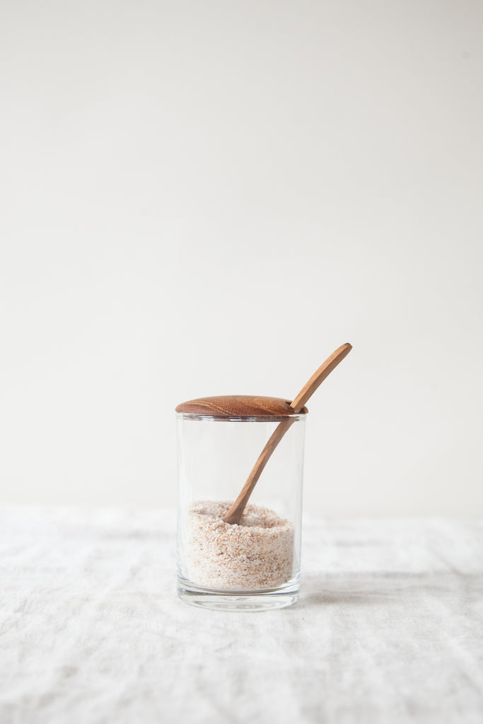 Glass + Teak Sugar Jar