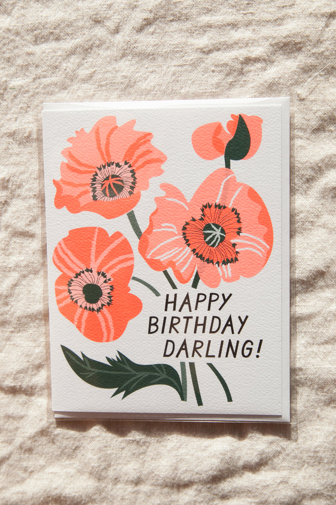 Birthday Poppies Greeting Card