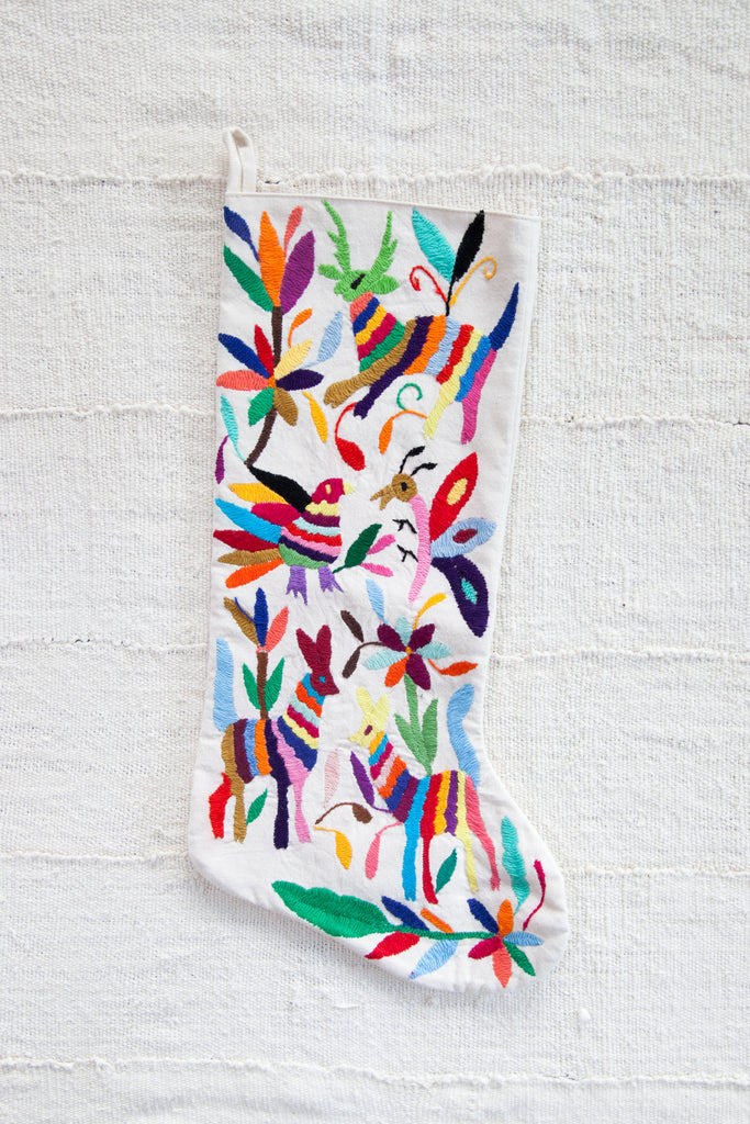Hand Embroidered Otomi Stocking