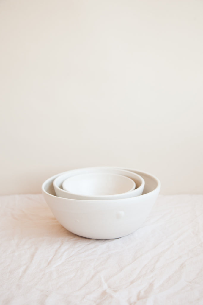 SECONDS - One of a Kind Nesting Serving Bowls / Snow