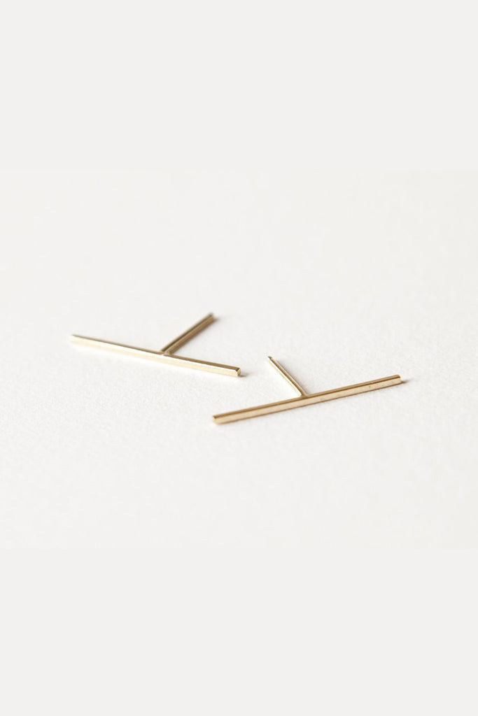 Gold Bar Earrings - 20mm