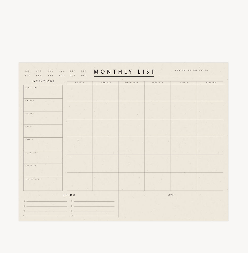 Monthly List Notepad