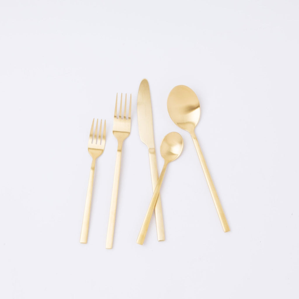 20 Piece Matte Gold Flatware Set