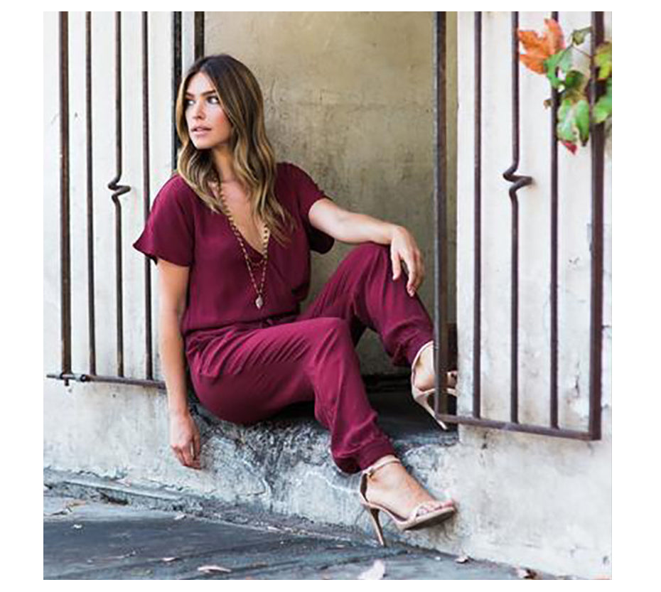 Sexy V-Neck Pleated Waist Jumpsuit