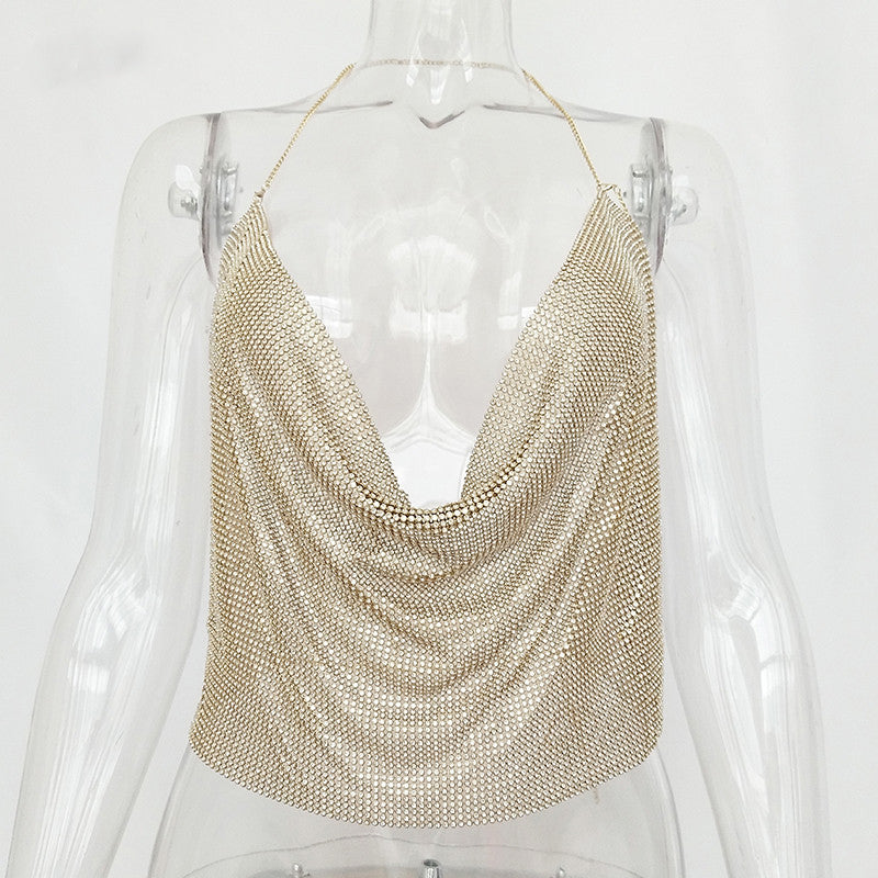 Shiny Rhinestones Backless Crop Top