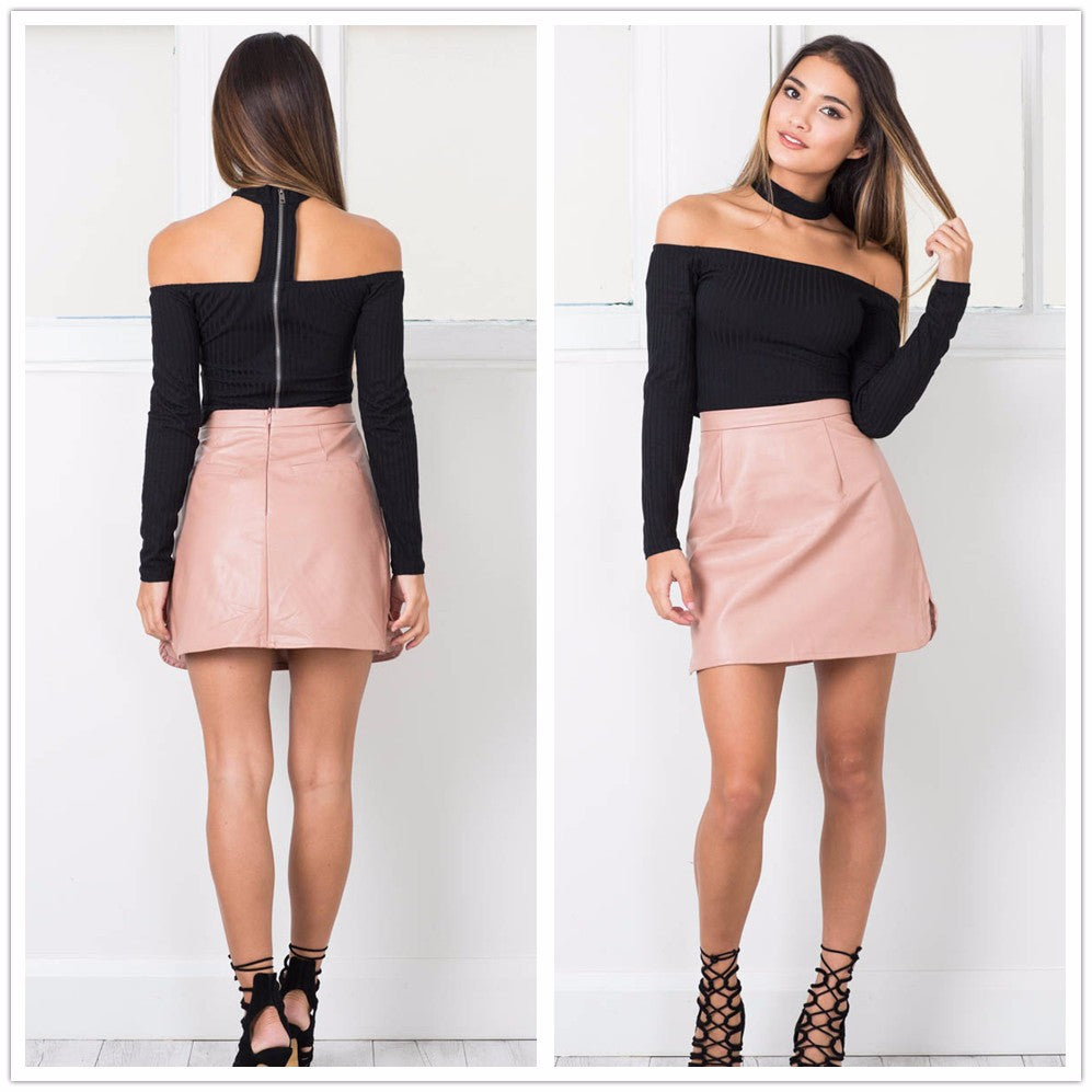 Leather High Waist Vintage Skirt