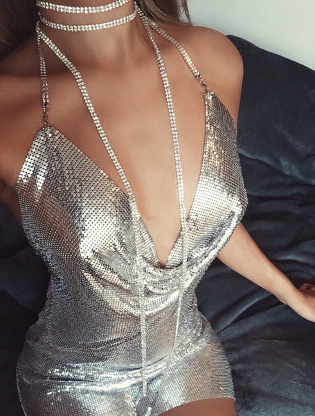 Sexy Metal Mesh Diamond Neck Mini Dress