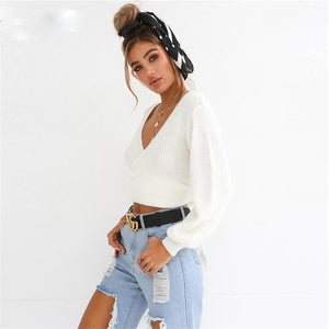 Women's Off Shoulder Sweater V-Neck Crop Top