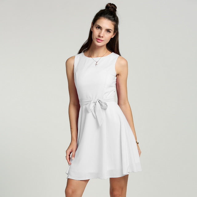 Casual Summer Swing Dress With Belt