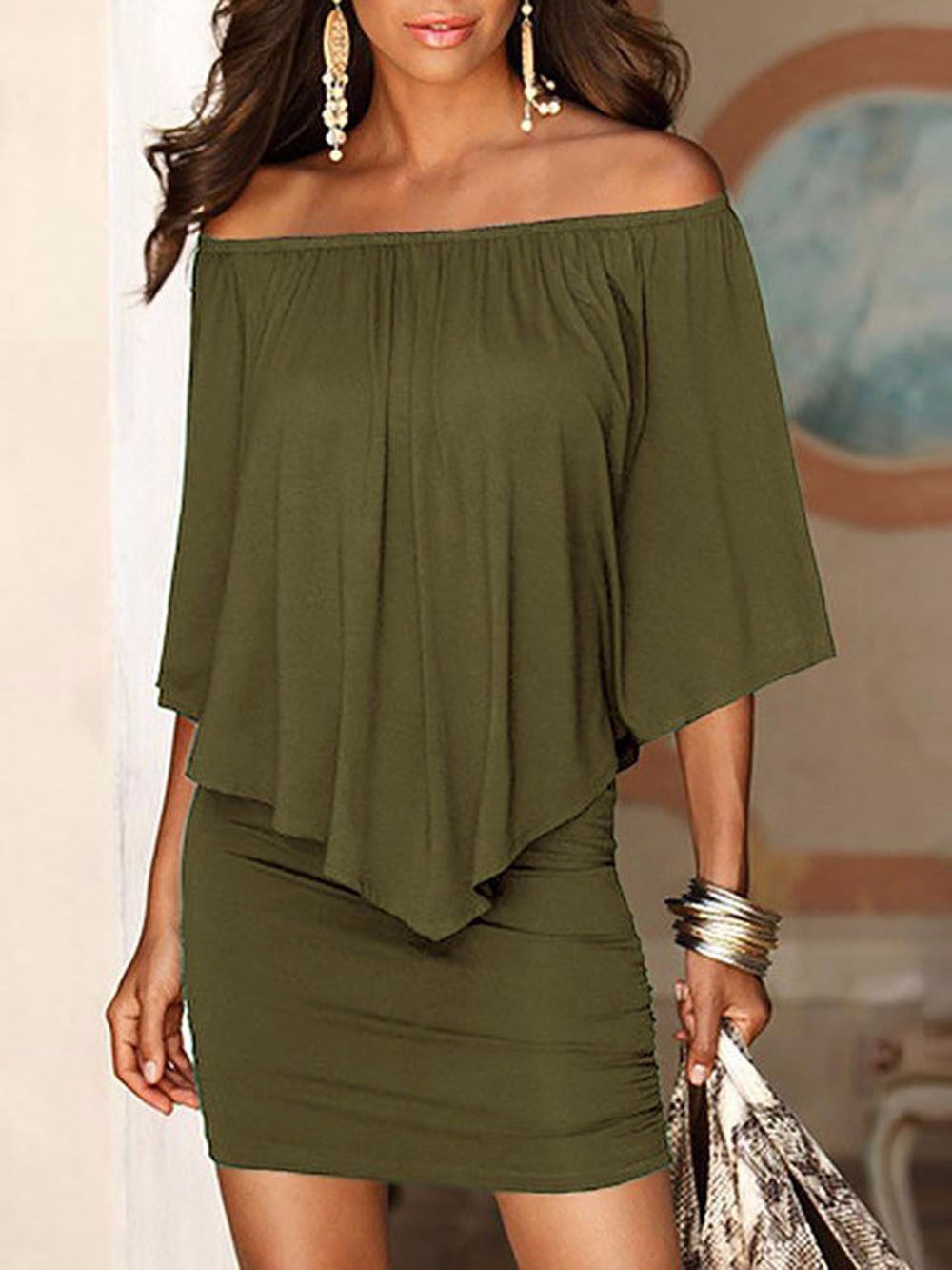 Summer Style Off Shoulder Ruffle Mini Dress