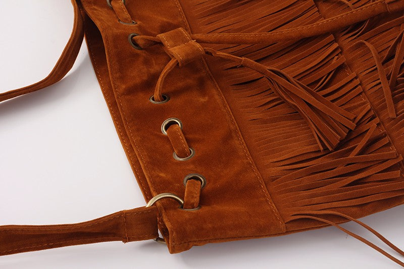 Sued Over-the-Shoulder Cross-Body Tasseled Tote Bag