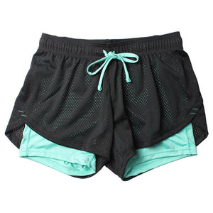 2-In-1 Fitness Mesh Spandex Shorts