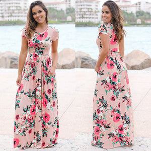 Short Sleeve Floral Print Evening Maxi Dress