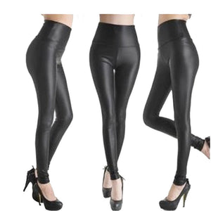 Sexy Shiny Black Faux Leather Leggings