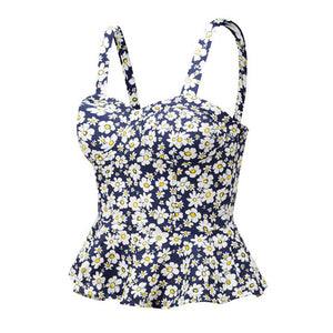 Bustier Navy Sun Flower Summer Crop Top