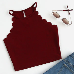 Sexy Burgundy Trim Halter Crop Top