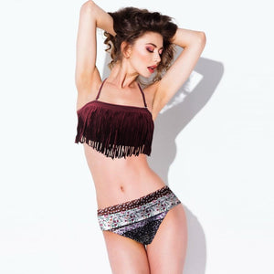 2-Piece Sexy Push Up Floral Tassel Bikini